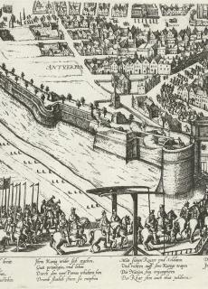 1585, de hertog van Parma trekt Antwerpen binnen. De stad is gevallen, een bepalend moment in de geschiedenis van het Nederlands in Vlaanderen.