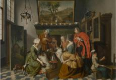 Theetijd, schilderij van Jan Josef Horemans II uit de 18e eeuw